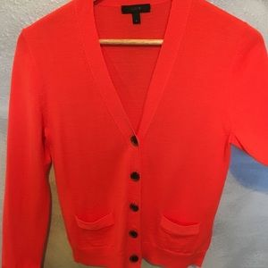 J. crew orange flat pocket V-neck cardigan
